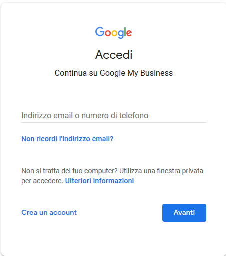 come accedere a google my business