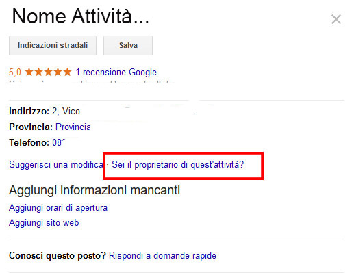rivendicare scheda google my business