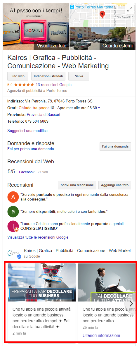 anteprima di un post su google my business