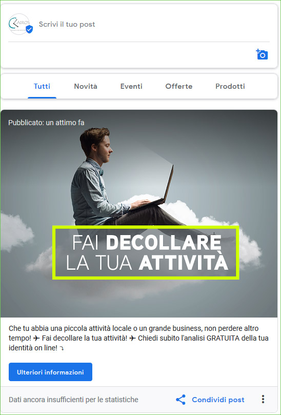 creare un post su google my business